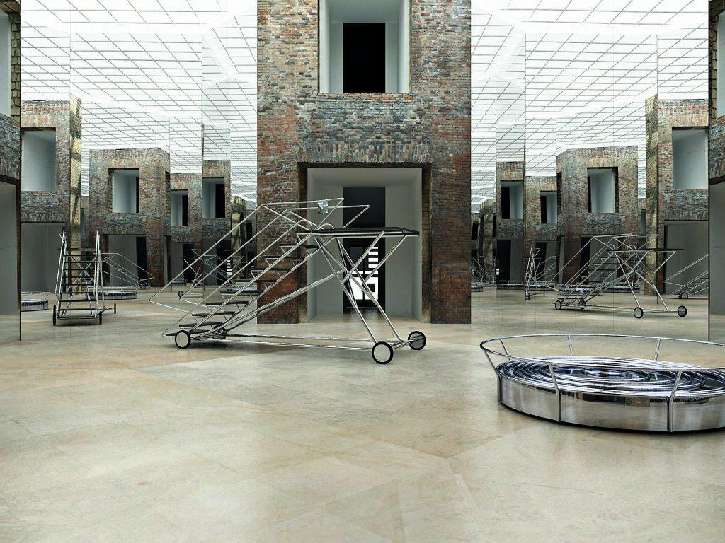 Exit III com Parede Niemeyer (Estação Luz), 2016: olhar sobre espacialidade é uma das marcas de Ana Tavares | © Modelação digital do projeto para intervenção (vista parcial)