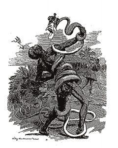 Charge de publicação do século passado: a serpente que vem explorar o continente africano