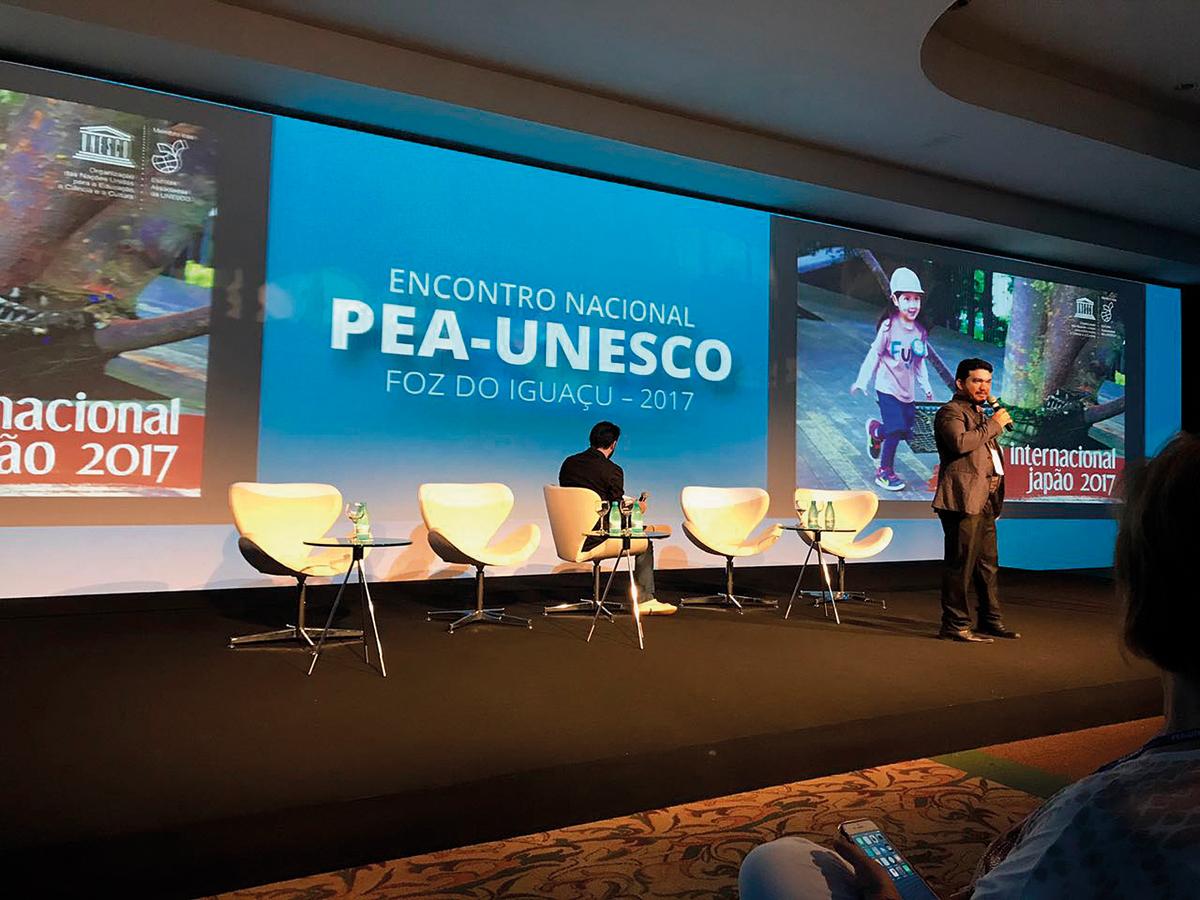 Francisco Vílton, do Piauí: surpresa com simplicidade e coerência de escolas do Japão. Foto do encontro PEA-Unesco de 2017. (Crédito: Divulgação)