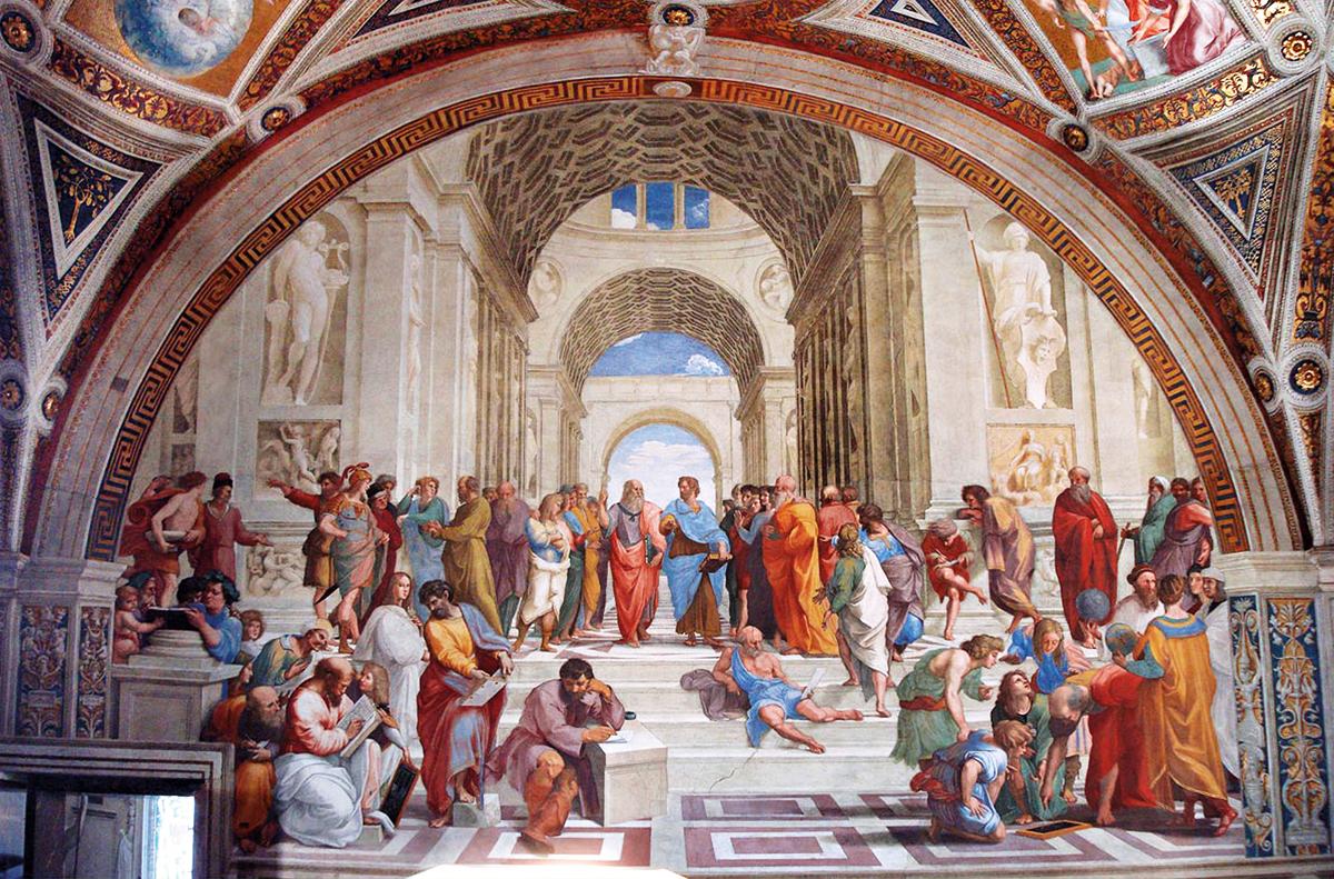 Na pintura de Rafael Sanzio, ao centro, Platão e Aristóteles (que foi ignorado nesta crônica onírica,focada em Sócrates) dialogam sobre o mundo das ideias e da matéria (Crédito: Reprodução)